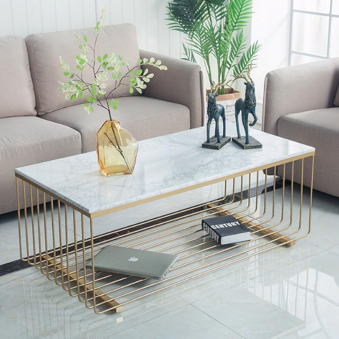 Nordic Marble Slab Coffee Table / Gold Steel Base