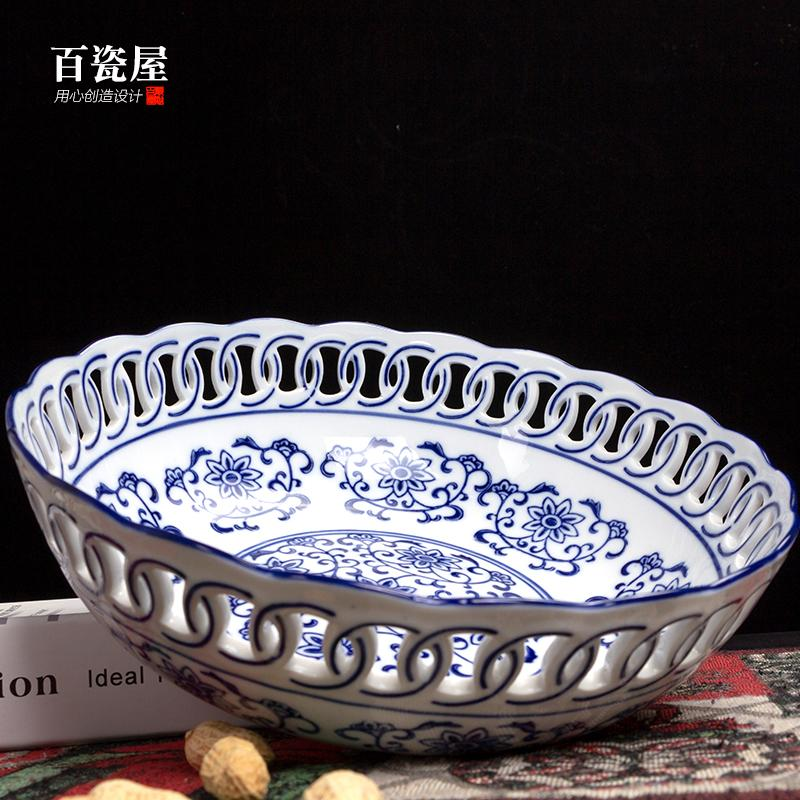 New Chinese Style Blue And White Porcelain Decoration Ceramic Fruit Bowl Dried Fruit Candy Dish Chinese-style Living Room Teapoy Table Desk Ornament Decoration