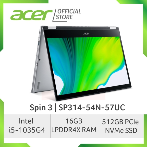 Acer Spin 3 SP314-54N-57UC (NEW) Touch Screen Convertible Laptop with 10th Gen Intel Processor and 16GB LPDDR4X RAM