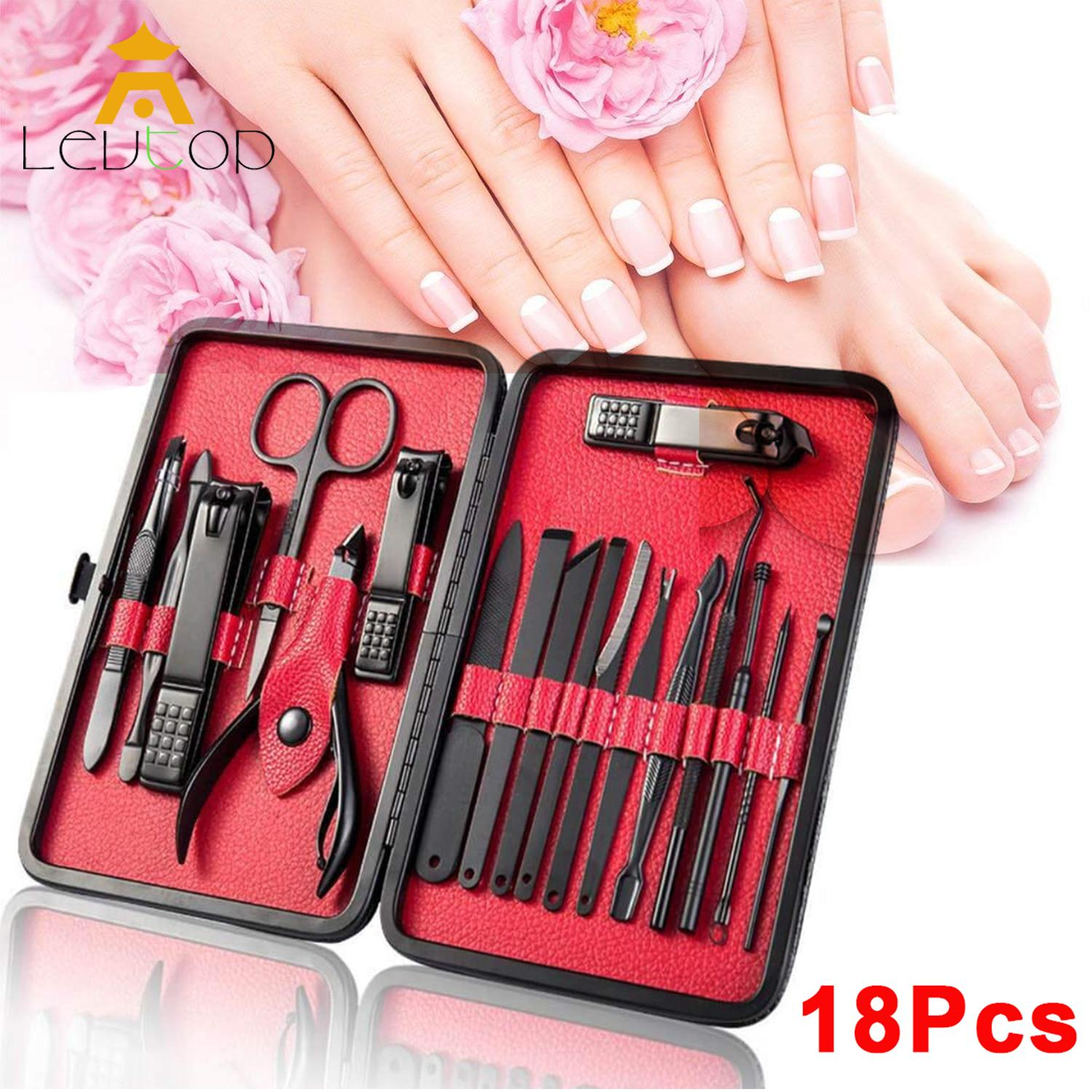 LEVTOP Clippers Set 18 Pcs Stainless Steel Pedicure Manicure Kit Cuticle Grooming Set Personal Nail Hand
