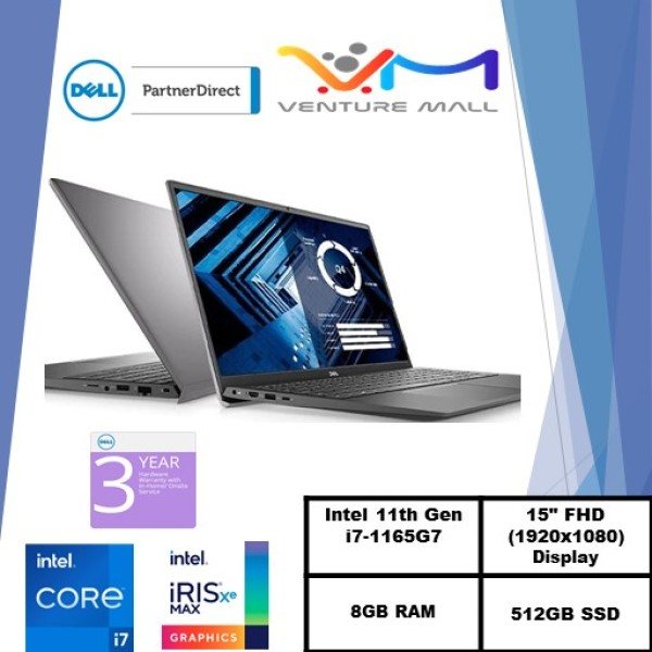 New 11th Gen (READY STOCK) New Vostro 15 3500- Intel® Core™ i7-1165G7/Windows 10 Pro/Intel® Iris® Xe Graphics /8GB RAM/512GB SSD/3 years warranty