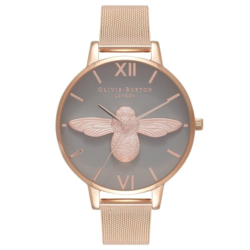 Olivia Burton 3d Bee Grey Dial Rose Gold Case 38mm Quartz Womens Rose Gold Stainless Steel Strap Watch Ob16am117 By Watch Centre.