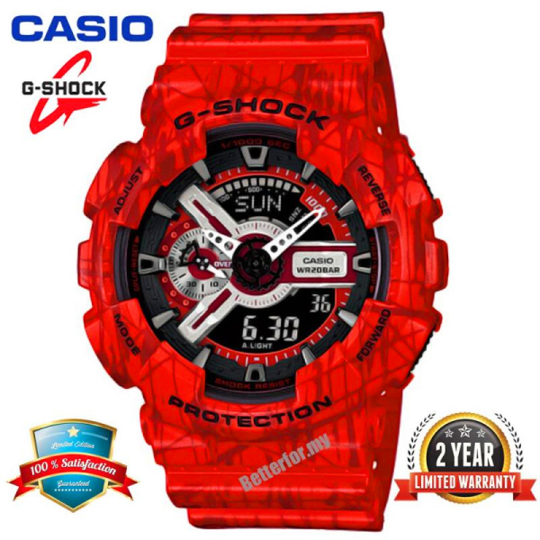 Original Casio G Shock GA110 Men Sport Watch Dual Time Display 200M Water Resistant Shockproof and Waterproof World Time LED Auto Light Sports Wrist Watches with 2 Year Warranty GA-110SL-4A Red (Ready Stock) Malaysia