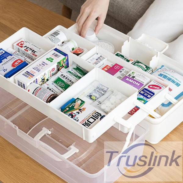 [SG Seller]New 3 Layer Plastic Medical Kit Portable Medicine Box Family Expenses First Aid Kit Medicine Box Child Baby Drug Storage Box