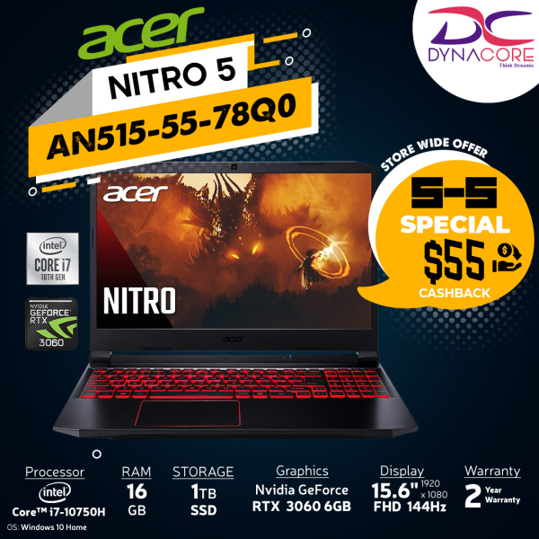 DYNACORE - ACER Nitro 5 AN515-55-78Q0 Gaming Laptop NH.QB2SG.007  i7-10750H | 16GB | 1TB M.2 NVMe SSD | NVIDIA GeForce RTX-3060 | 15.6 FHD 144HZ