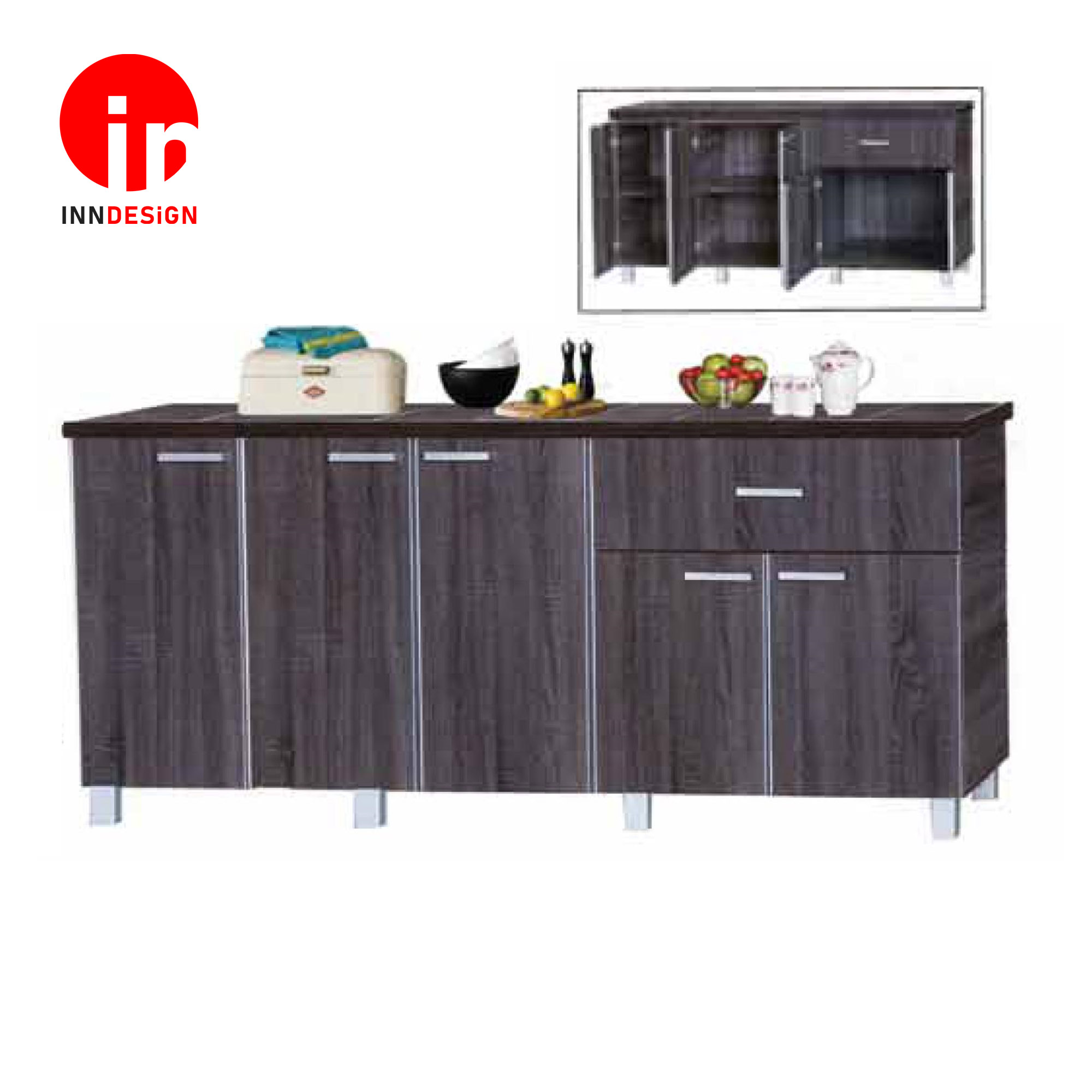Cassiva 5 Doors With Drawer Kitchen Cabinet (D20 ) (Ceramic Tiles Top) (Free Delivery and Installation) (Walnut)
