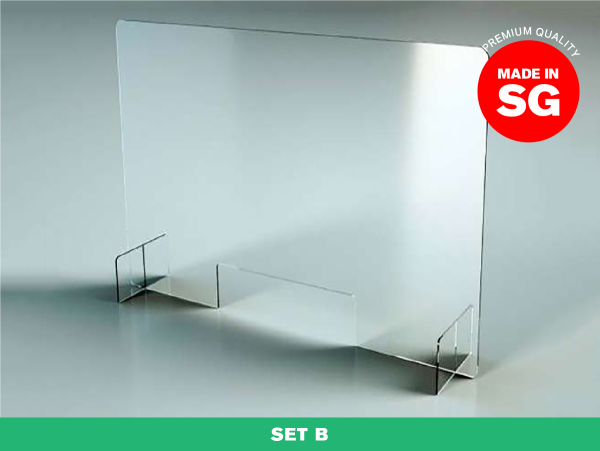 [SG READY STOCK] SET B — Acrylic Shield Table Dividers / Portable Transparent Protective Sneeze Guard / Clear Acrylic Plexiglass Partition for Counters & Desks