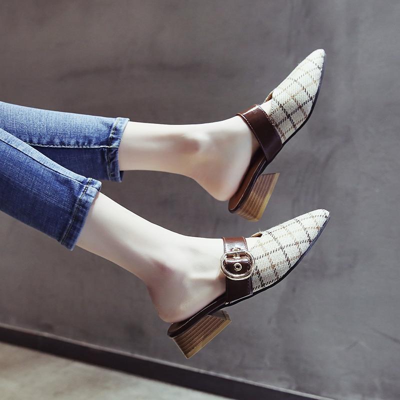 cbb8dec95 Mules Shoes Female 2019 New Style Versatile Korean Style Semi-high Heeled  Social Semi-
