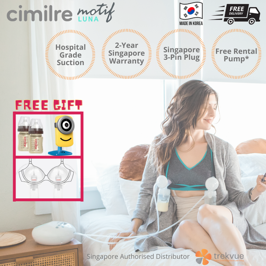 Cimilre Motif Luna Hospital Grade Suction Double Electric Breast Pump - Available In Size 21mm 24mm 28mm 32mm - Quiet Motor Night Light Led Screen Breast Shield More Milk In Less Time [ready Stock In Singapore, 2 Year Local Warranty, Singapore Plug].