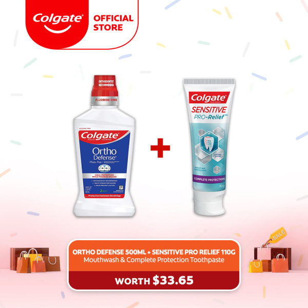 Buy [4.4 Just 4 U] Colgate Ortho Defense Mouthwash 500ml + Colgate Sensitive Pro Relief Complete Protection Toothpaste 110g ( 61002996-1+ FOC 1539336-1) Singapore