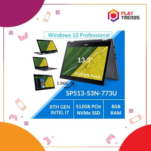 Acer Spin SP513-53N-773U Notebook - 8th Gen i7 Core/8GB RAM/512GB SSD/13.3inch FHD IPS Multi-Touch Display with Active Stylus support/Windows 10 Professional(64-bit) by PlayTrends