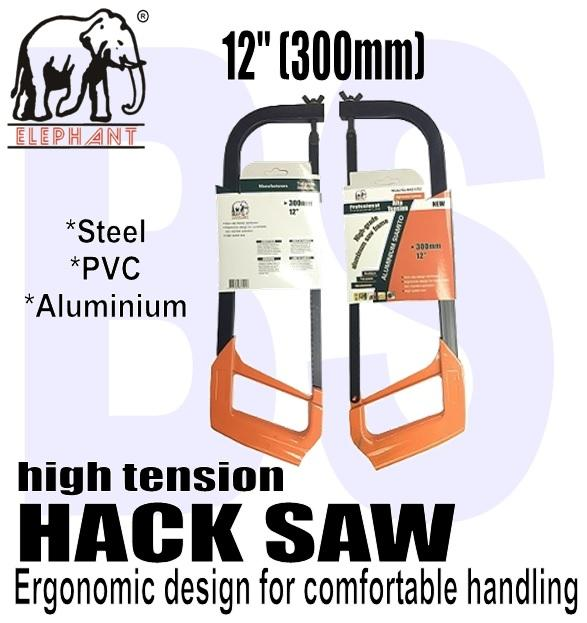 BANSOON Hack Saw High Tension / 12 (300mm) / home diy saw / cuts steel, aluminium & pvc / comfortable two-handed operation