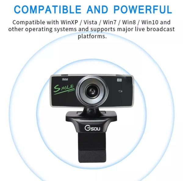 GSOU B18s Wide Angel USB HD 360 Degrees Rotation Webcam with Microphone