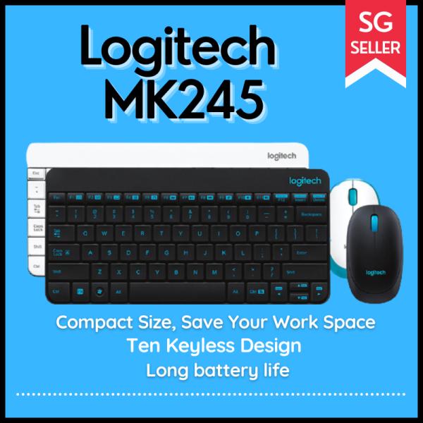 Logitech MK245 USB Nano Wireless Mini Keyboard 1000DPI Ergonomic Keyboard Mouse Combos Set for Home Office Notebook Laptop Singapore