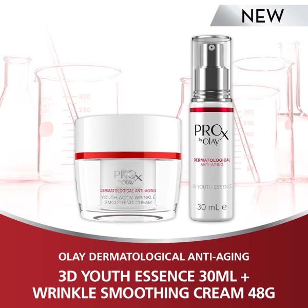 Buy [Bundle of 2] Olay Pro-X 3D Youth Essence 30ml + Olay Pro-X Youth-Activ Wrinkle Smoothing Cream 48g Singapore
