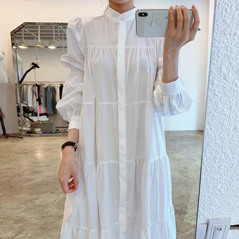 Hàn Quốc Chic Kiểu Pháp Khí Chất Cổ Áo Khuy Một Hàng Dáng Suông Rộng Nhăn Quan Tay Bồng Áo Sơ Mi Đầm Váy Dài Nữ
