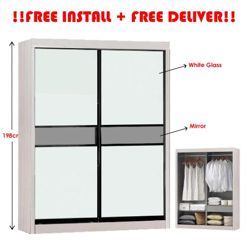 [A-STAR] 5 Feet Modern Limewash Sliding Wardrobe Cabinet with Full Glass Door (NEW!!)