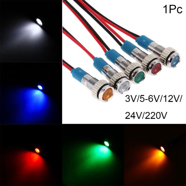 Bảng giá A8285 1Pc bảng điều khiển Hướng dẫn thí điểm Có dây Không thấm nước 3V 5 V 6 V 9 V 12 V 24 V 220V 6mm Đèn báo kim loại LED Đèn tín hiệu