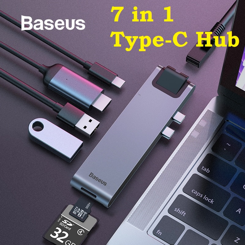 Baseus 7 in 1 Thunderbolt Type-C Hub Macbook Notebook USB 3.0 HDMI RJ45 Memory Card Converter