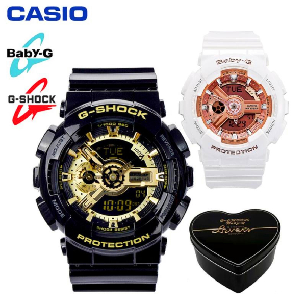 Original Casio G Shock Baby G GA110 BA110 Men Women Couple Set Sport Watch Dual Time Display Water Resistant Shockproof and Waterproof World Time LED Light Sports Lover Wrist Watches with 2 Year Warranty BA-110-7A1/GA-110GB-1A Malaysia