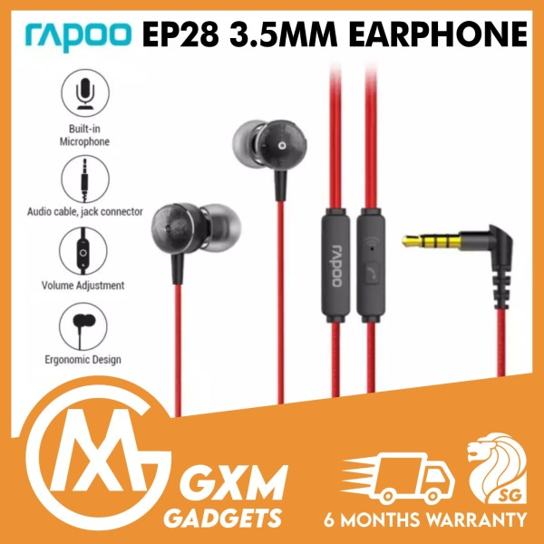 Rapoo EP28 3.5mm Earphone Earpiece Headphone with Mic Wired Control Audio Call Bass For Laptop Phone Singapore