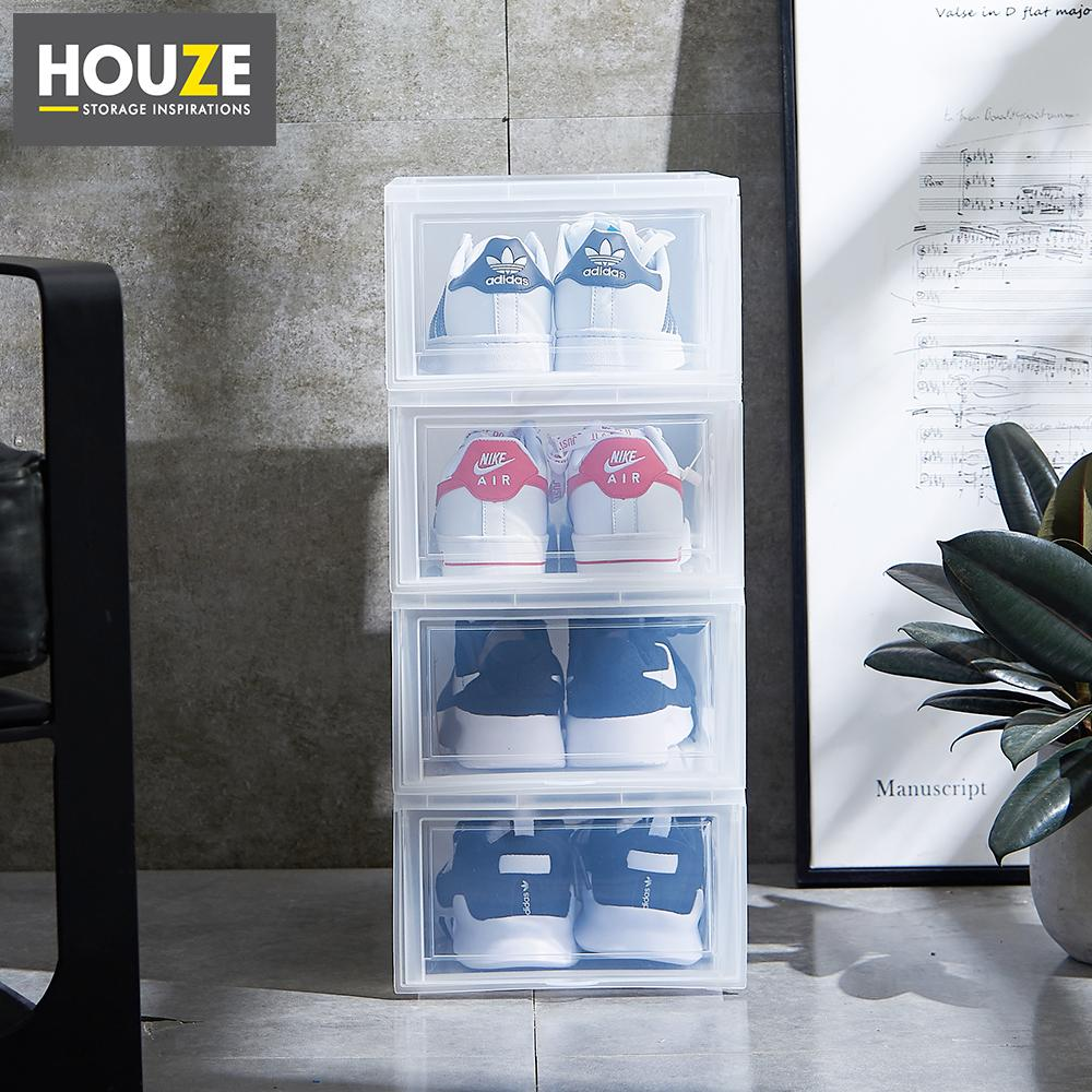 HOUZE - Modular Retractable Lid Ladies Shoe Box (Pack of 4)