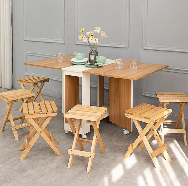 Foldable Dining Table with Chairs/Stools Set