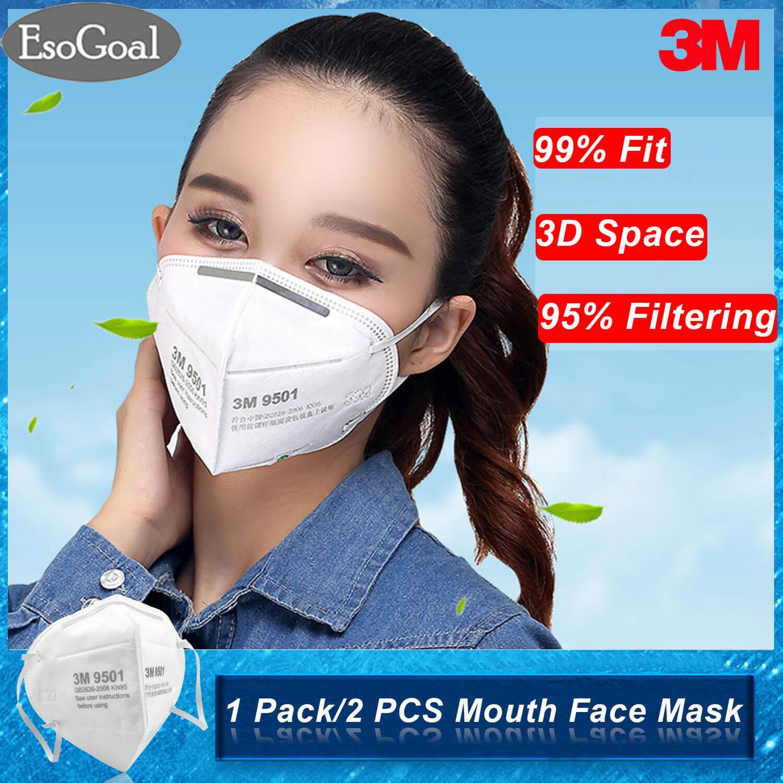 Esogoal 2pcs/10 Pcs/20 Pcs 3m 9501 Mouth Face Mask Anti-Fog Anti Pm 2.5 Respirator Anti Dust Haze Disposable Particulate Mask Respirator Ear Wearing N95 Level For Men Women By Esogoal.
