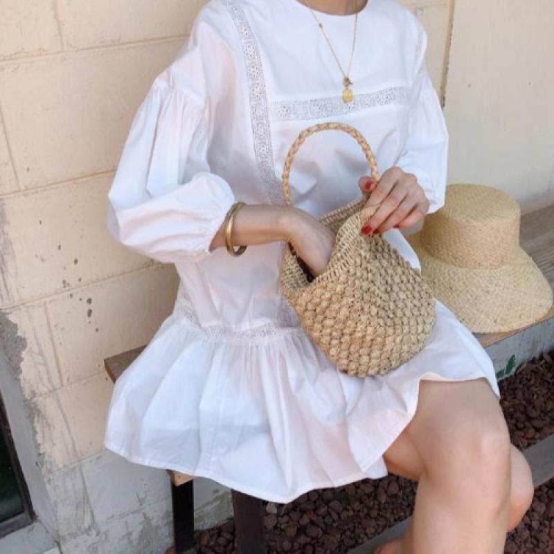 Hàn Quốc Chic Mùa Hè Mẫu Mới Tay Bồng Đáng Yêu Váy Búp Bê Dáng Suông Rộng Tay Ngắn Tôn Dáng Thích Hợp Đầm Váy Tiên Nữ