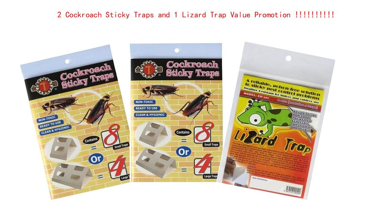 2 Packs of Golden Hammer Cockroach Sticky Trap + 1 Pack of Lizard Trap Value Promotion