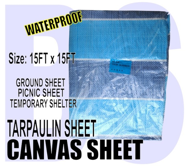 BANSOON Waterproof Canvas Sheet 15FTX15FT (457cm x 457cm). Picnic sheet. Construction. Lorry Shelter. Goods Cover.
