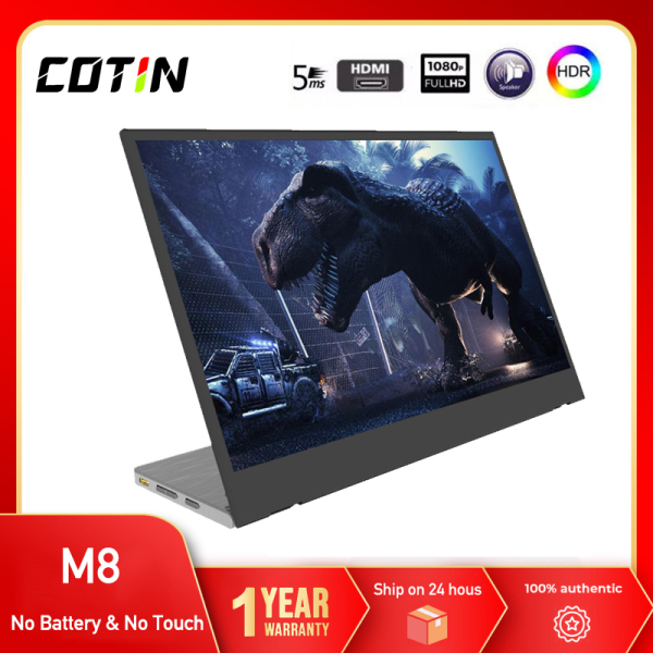 """【TOP 2】【2021 NEW】COTIN M8 Thin Screen Cheap price 14"""" USB Type-C Full HD 1080 IPS USB C Portable Monitor Built-in Dual Speakers Compatible with Laptop Computer Raspberry pi Gaming Monitor for PS4 PS3 Xbox"""