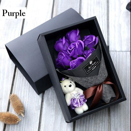7 Soap Rose Bouquet with Bear / Flower / Gift / Mothers Day / Graduation / 5 Colours Available / Local Seller Fast Delivery - UniqueGifts