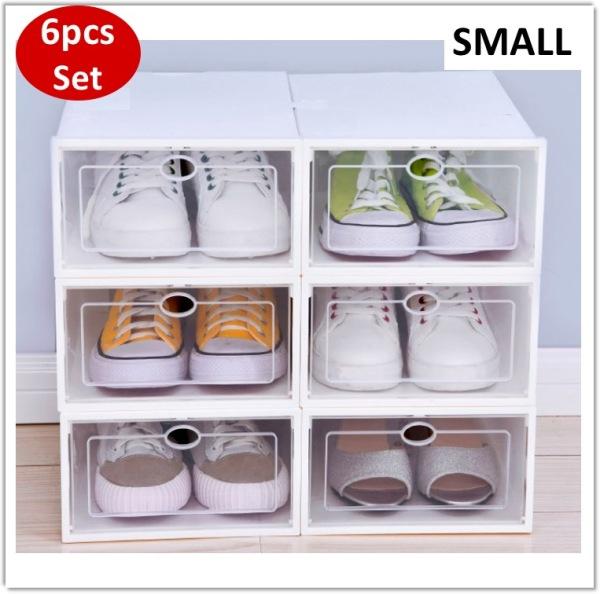 [Bundle of 6] Shoe Box Foldable White Shoes Organizer Organiser Storage