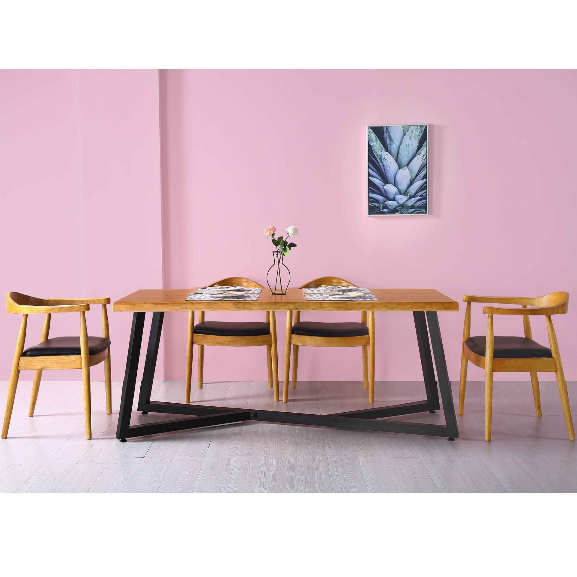 Northern Europe Small Apartment Home Solid Wood Dining Tables And Chairs Set Princess Style Wooden Furniture Strip Dining Tables And Chairs Set Customizable