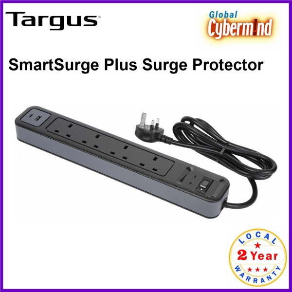 Targus SmartSurge Plus 4 Outlets with USB-A and USB-C Ports Extension Socket (Brought to you by Global Cybermind)