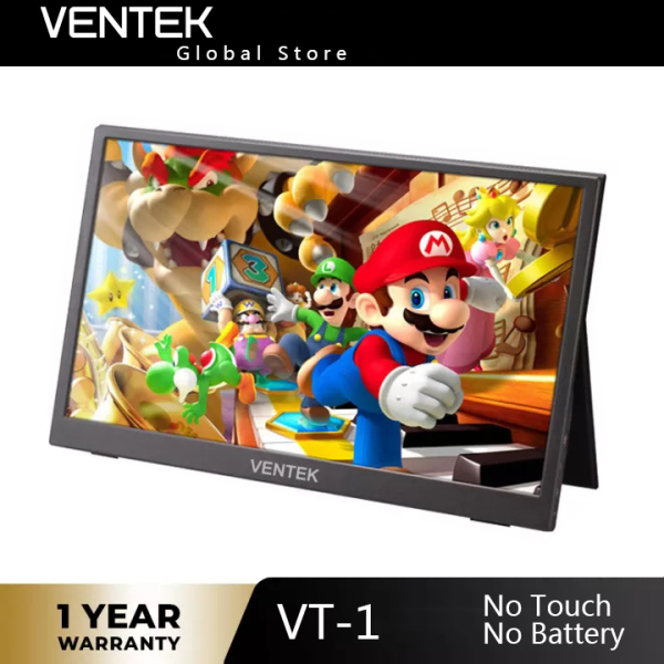 VENTEK VT-1 thin portable lcd hd monitor 15.6 usb type c hdmi for laptop,phone,xbox,switch and ps4 portable lcd gaming monitor