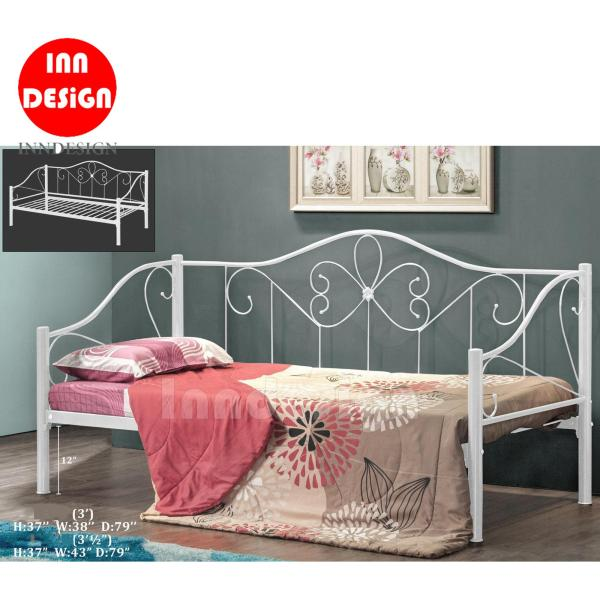 Single / Super Single Metal Bed / Day Bed (White)