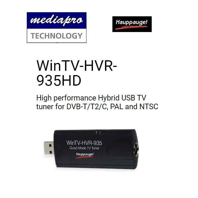 Hauppauge WinTV-HVR-935HD (1591) High performance Hybrid USB TV tuner for DVB-T/T2/C, PAL and NTSC - 1 year local distributor warranty