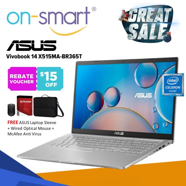 ASUS VivoBook X515MA-BR365T | Intel Celeron N4020 | 4GB RAM | 256GB SSD | Windows 10 Home | 1 Year Warranty | Student Casual Home New Budget Laptop Computer