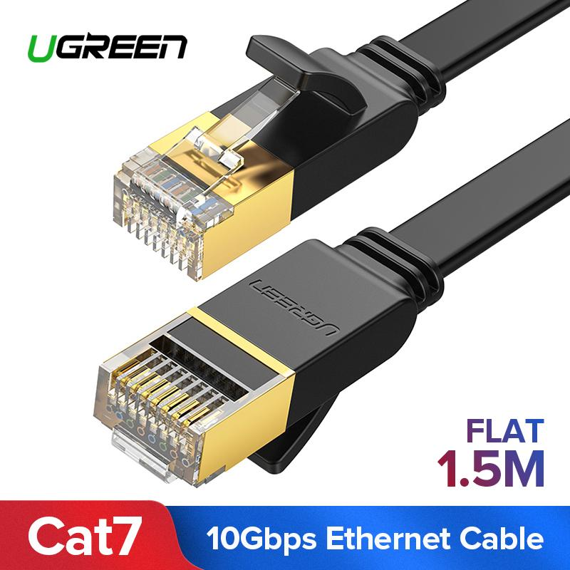 UGREEN 1.5Meter Flat Cat7 Ethernet Cable RJ 45 Network Cable UTP Lan Cable Cat 7 RJ45 Patch Cord for Router Laptop Cable Ethernet,Black-Flat Version