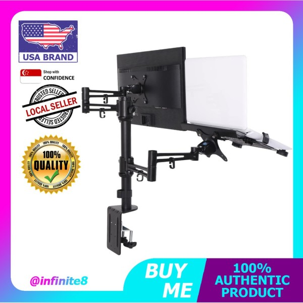 Loctek USA 2in1 Dual Monitor Arm Desk Laptop Mount Aluminum Stand Fits Most 10-27 inches LCD and 10.1-17.3 inches Laptop