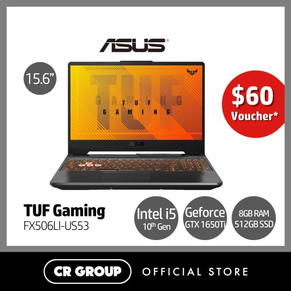 [Same Day Delivery] Asus TUF Gaming FX506LI-US53 15.6 Inch Full HD 144 Hz Refresh Rate Gaming Laptop | 10th Gen i5-10300H | 8GB DDR4 RAM | 512 GB NVMe SSD | NVIDIA® GeForce® GTX 1650 Ti 4GB GDDR6