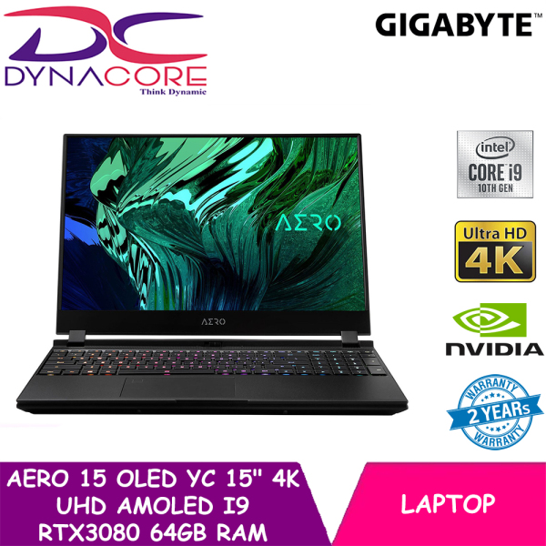 【DELIVERY IN 24 HOURS】 DYNACORE - Gigabyte AERO 15 OLED YC 15 4K UHD AMOLED i9 RTX 3080 Gaming Laptop (64GB DDR4   2x 1TB NVMe SSD   8GB RTX 3080   Win10 Pro)