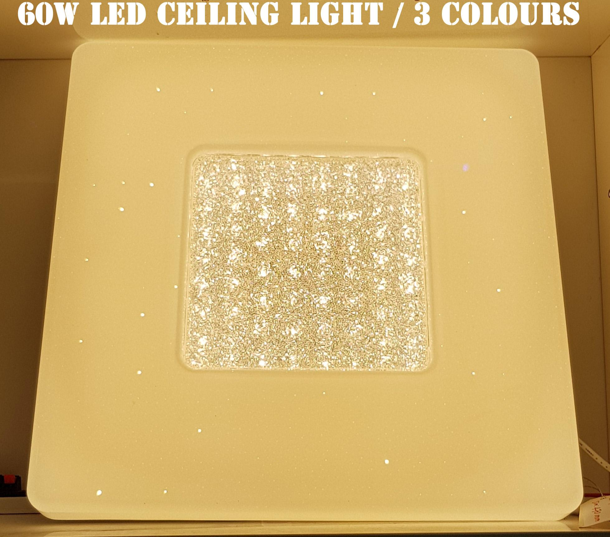 Square 60W Super bright 3 colour Dimmable crystal LED ceiling Light with Remote control /LED LIGHT / LED CEILING LIGHT / LED DOWN LIGHT / Dimmable Ceiling Light - PROACTIVE SUPER MALL