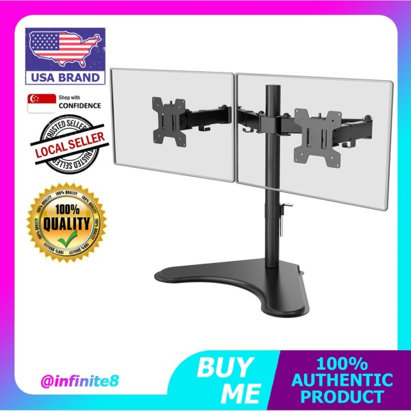 VIVO USA Full Motion Dual Monitor Free-Standing Desk Stand VESA Mount arm, Double Joints, Holds 2 Screens up to 32 inch