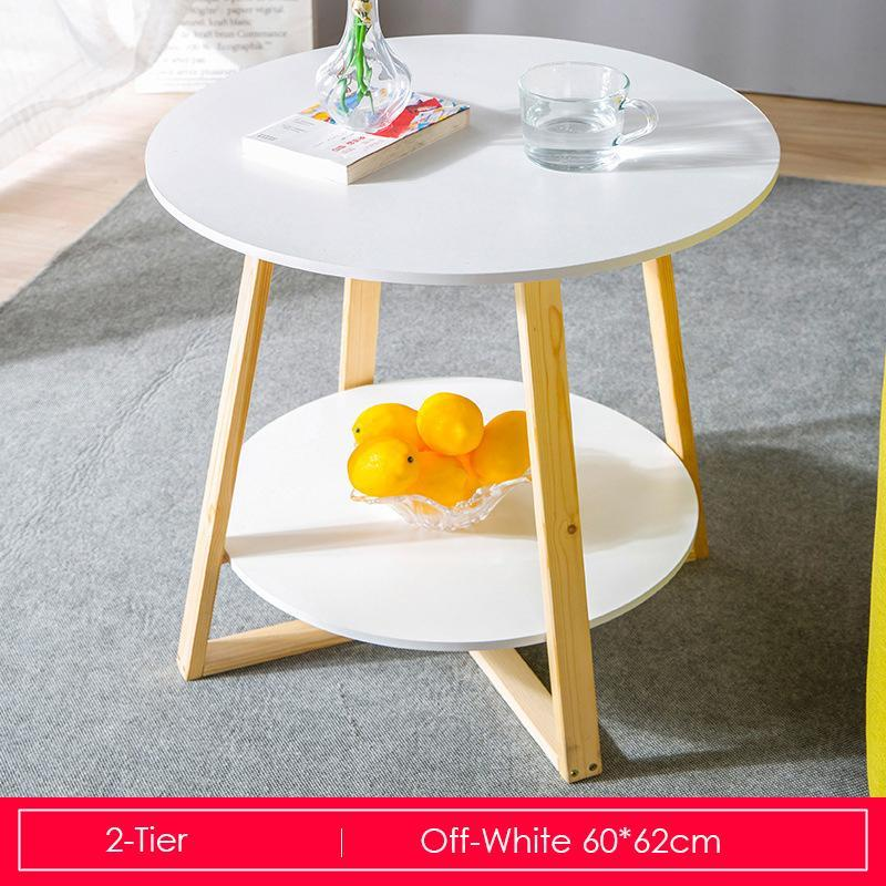2-Tier White Round Coffee Table With Wooden Base