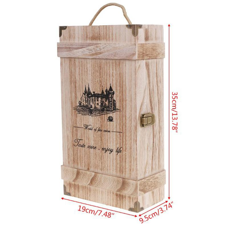 Vintage Wood 2 Red Wine Bottle Box Carrier Crate Case Storage Carrying Display Holder Birthday Party Christmas Gift