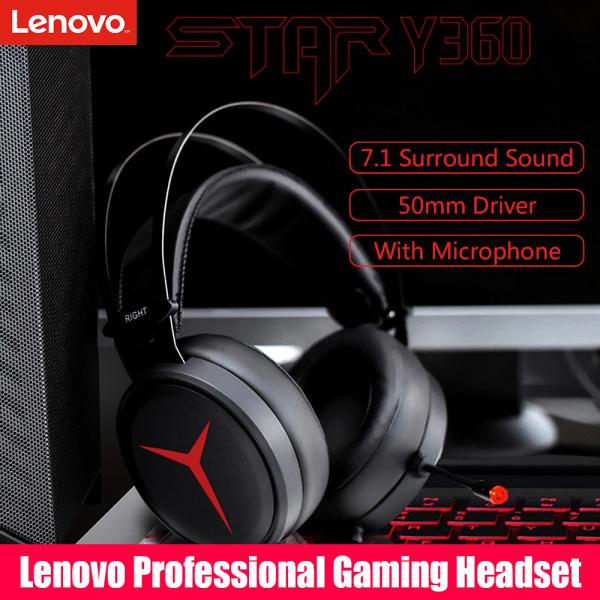 Lenovo Star Y360 Tai nghe chơi game chuyên nghiệp có dây 2,2m Âm thanh vòm 7.1 Bộ truyền động 50mm Tai nghe chụp qua tai có micrô Giao diện USB Tai nghe nhẹ nhàng Bass mạnh mẽ