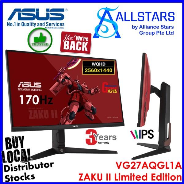 (ALLSTARS : We are Back / Screen Promo) ASUS VG27AQGL1A (Zaku II Gundam Edition / Red/Black) 27 inch IPS WQHD Gaming Monitor / 170Hz / 1ms / HDR10 / Built-in-Speaker / DP x1 / HDMI x2 / Audio Out / USB3.0 HUB / Pivotable / Height Adjustable / VESA Mount